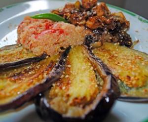 Eventail d'aubergine au quinoa