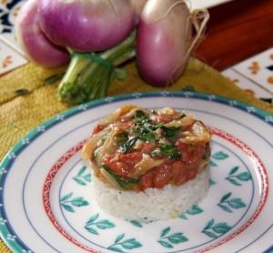 Haricots roses & fanes de navets au riz coco